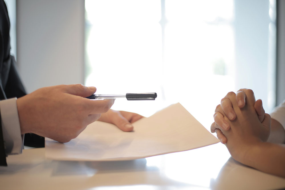 crop businessman giving contract to woman to sign 3760067